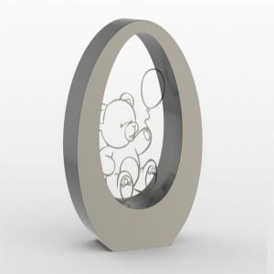 RVS urn oval 350 Bear Inhoud 3,5 L Afm. 35x29x15 cm € 1250,00