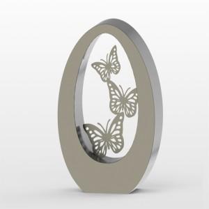 RVS urn Oval 350 butterflies Inhoud 3,5 L Afm. 35x29x15 cm € 1250,00