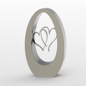 RVS urn Oval 350 hearts Inhoud 3,5 L Afm. 35x29x15 cm € 1250,00