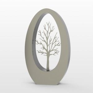 RVS urn Oval 350 tree Inhoud 3,5 L Afm. 35x29x15 cm € 1250,00